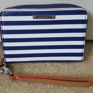 Stella & Dot Blue Striped Wristlet Wallet